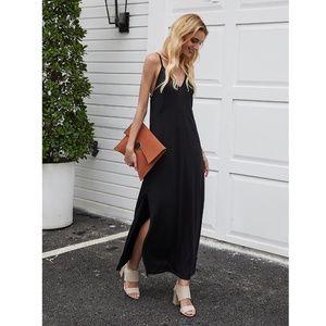 Black Cami Slip Casual Maxi Dress w/ Slits